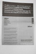 Nikon TTL Accessories SC-17/18/19+AS-10/11 Instruction Sheet+English+Original