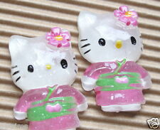 "10 x (1 1/8"") CLEAR Resin Kitty Flatback Beads/Hello w/Flower Bow/Kimono SB423G"