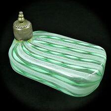 Rare 19th C Murano Art Glass Flask Zanfirico Aventurine Mint Green Ribbons Cork