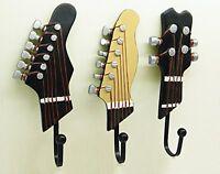 Portemanteau Mural Vintage Design Guitare Jeu de 3 Crochets Décoration Hogar