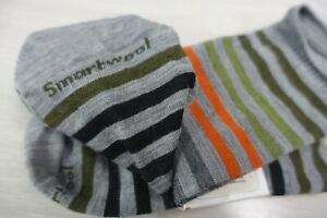 """SMARTWOOL~NWT!!~MEN'S XL """"SPRUCE"""" GRAY WITH STRIPES WOOL BLEND SOCKS M.I. USA"""