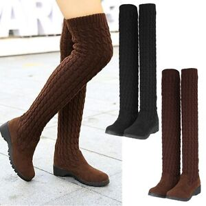 Lady Women Round Toe Long Shoes Pull On Riding Stretchy Knitted Over Knee Boots