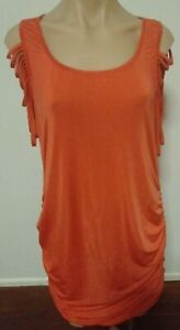 Chaiselle Ladies Bodycon Ruched Dress Size 14 Red Detailed Sleeves Open Back
