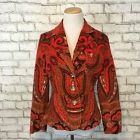Isaac Mizrahi for Target Women's Bright Red Paisley Blazer Jacket Size Small