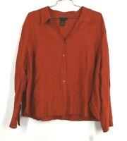 Lane Bryant Womens Button Front Shirt V Neck Short Sleeve Curve Hem Size 26/28