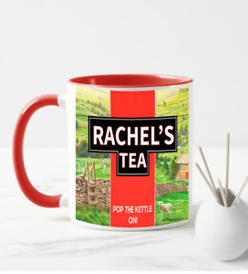 *FREE POSTAGE PERSONALISED YORKSHIRE TEA POP THE KETTLE ON COFFEE MUG RED CUP