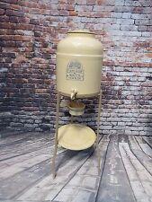Vintage Cascade Stoneware Water Cooler Jug On Metal Stand w/ Original Drip Cup