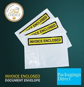1000x Invoice Enclosed Pouch 115 x 150mm White Document Envelope Sticker