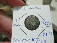 1930 Great Britain NICE Silver Coin, 3 Penny, Low Mint, KEY DATE, 1.3M Minted