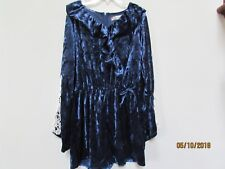 New Girl Size M Speechless Crushed Velvet ROMPER Navy Blue Shorts Lace Bell