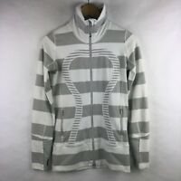 Lululemon In Stride Jacket Brushed White Silver Spoon Bold Stripe Size 4