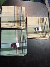 "lot of 3 NEW HANDKERCHIEF CLASSIC stripes MARIO VALENTINO MEN POCKET SQUARE 18"""