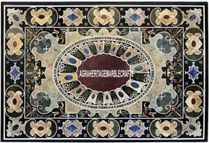 Antique Rare Marble Dining Table Top Marquetry Inlay Stone Occasion Decor H3874