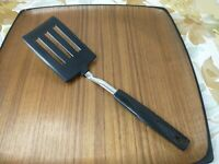 Vintage Short Black Plastic Spatula Flipper Turner Stainless Retro Kitchen Japan