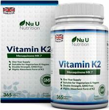 Nu U Nutrition Vitamin K2 MK 7 200mcg Vegetarian and Vegan Tablets - 365 count