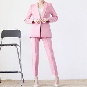 Women Korean Fashion OL Pink Blazer Jacket Straight Pants Trouser 2Pcs Work Suit