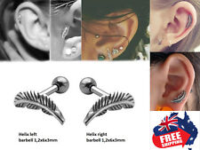 Pair 316L Feather Top Barbell Ear Cartilage Helix Tragus Studs Earring Piercing