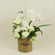 Silk Rose and Orchid Handmade Arrangement in Jute Bucket, Faux Flowers in Vase