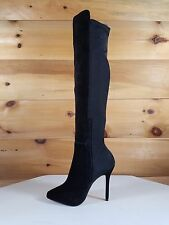 "Black Suede Thick Stretch Nylon OTK High Boot 5"" Heel Sizes 6"