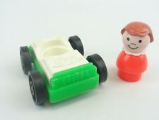Fisher Price #2504 1-Seat Garage Car & Girl Little People Green White Red 1987