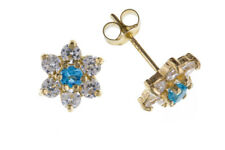 Blue Topaz Cluster Earrings Stud Solid Yellow Gold 9 Carat Studs Natural Stone