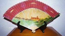 "Antique Chinese Hand Painted Wood Hand Fan Castle Temple Large 20"" Across"
