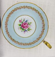 AYNSLEY BONE CHINA ENGLAND TEA CUP & SAUCER LIGHT BLUE GOLD FLORAL CENTER