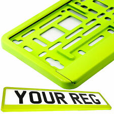 NEON YELLOW HIGHLIGHTER Car Number Plate Surround Holder FOR ANY CAR VAN TRAILER