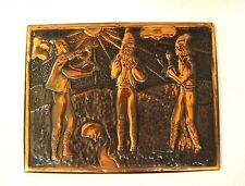 Vintage hammered copper wall plaque Russian embossed wall panel Musicians 1981