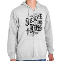 Serve The King Christian Shirt | Jesus Christ Religious Gift Zip Hoodie