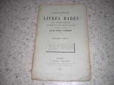 1884.catalogue vente livres bibliothèque Henri Lambert.2e partie