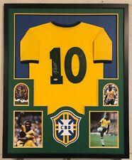 30149a26917 Pele Autographed Custom Framed Brazil Brasil Soccer Jersey PSA/DNA COA
