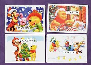 gift idea- WINNIE-THE-POOH  XMAS CALENDAR CARDS  X 4  UK SELLER