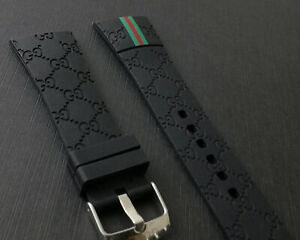 For I-Gucci Digital Men's Watch Rubber Black Replacement Watch Strap Band