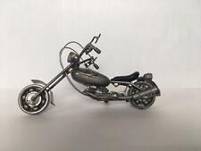 Motorcycle Scrap Metal Desk Art Welded Handmade Sculpture Nuts Bolts Decor VTG