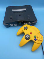 Nintendo 64 Console Black Model Nus-001 With Yellow Control Working And Tested