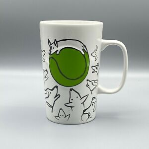 Starbucks Coffee Mug Dogs Tennis Ball 2015 Green Dot 16oz White Tall Cup