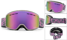 "Ski Snowboard Snow Goggles Winter Sports ""Cross Pattern"" Anti Fog Dual Lens"