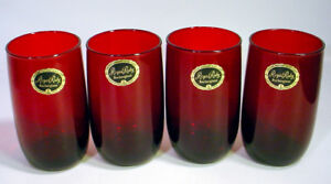 4 Vintage ROYAL RUBY Red Glass TUMBLER Set LOT Anchor Hocking LABEL Juice Water