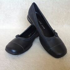 Fiore  Black Leather Flat Shoes / School Shoes Size UK 6
