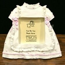 Two's Company Small Picture Frame Baby Girl White & Pink Dress