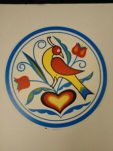 """Hex Sign PA Dutch Amish 15 1/2"""" Single Bird with Flower and Heart"""