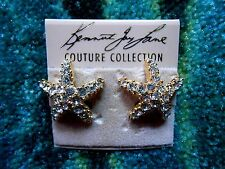 Kenneth Jay Lane Gold Plated Crystal Starfish Pierced Earrings