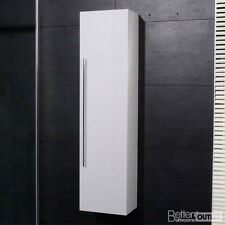 New Bathroom Wall Mounted Hung Side Cabinet Unit Tall White High Gloss Finish
