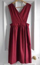 Stylish Vintage Dark Red Maroon Wool Blend Midi Pinafore Dress Leygil M