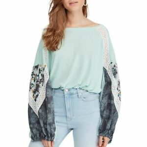 FREE PEOPLE NEW Women's Printed Lace Trim Knit Pullover Casual Shirt Top TEDO
