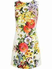 DOLCE & GABBANA Floral Bouquet Print Brocade Shift Dress 38  US 2  UK 6 NWT$2.6K