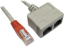 Cable Economiser Plug Twin Sockets (2x Voice) RJ45 CAT5E Adapter [003729]