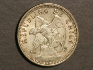 CHILE 1927 5 Pesos Silver Crown AU-UNC