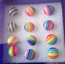 Circle Rainbow Gay Lesbian Pride Fashion Earrings 6 Pairs